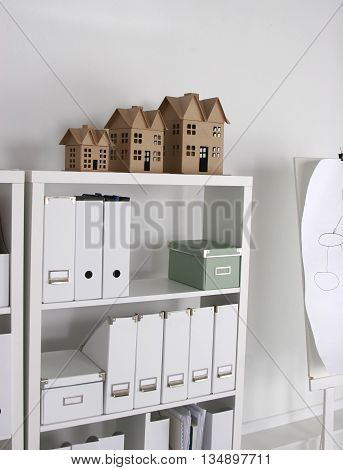 Bookcase with folders.interior business cabinet furniture office