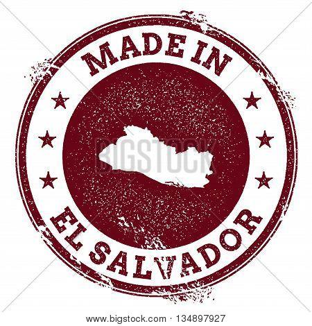 El Salvador Vector Seal. Vintage Country Map Stamp. Grunge Rubber Stamp With Made In El Salvador Tex