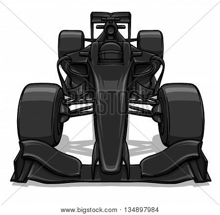 front view funny fast cartoon formula race car illustration