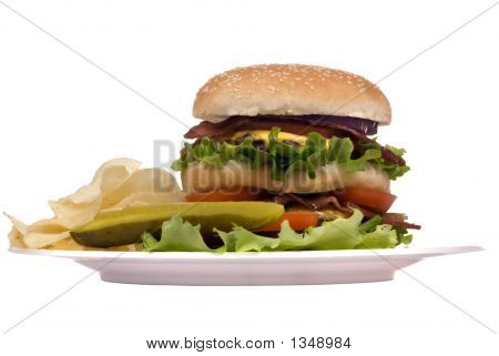 Hamburger Series (Bacon Cheeseburger On Plate)