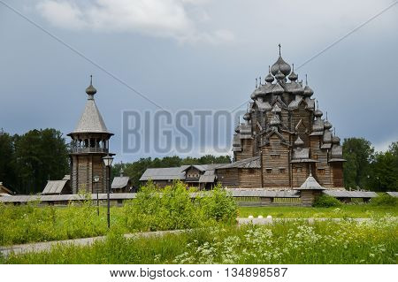 The wooden Church of the Intercession of the Holy - active Orthodox temple in the Nevsky forest Park of Vsevolozhsk district of Leningrad region. Copy of Russian wooden Architecture.