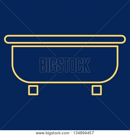 Bathtub glyph icon. Style is linear flat icon symbol, yellow color, blue background.