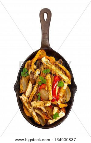 Chicken Fajitas with Grilled Onions and Bell Peppers Isolated on white background. Selective focus.