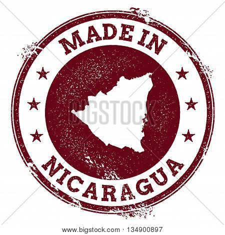 Nicaragua Vector Seal. Vintage Country Map Stamp. Grunge Rubber Stamp With Made In Nicaragua Text An