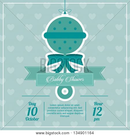 Baby Shower represented by maraca design, decorated and blue background with text inside