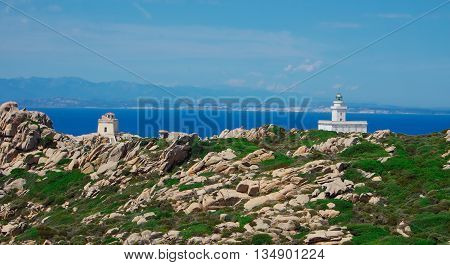 Corsica seen from Sardinia, behind the light towerr