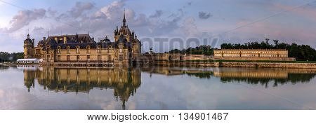 Chantilly Castle Panoramic View On Sunset Background