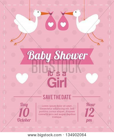 Baby Shower represented by stork design, decorated and pink background with text inside