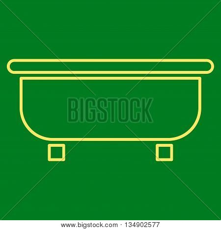 Bathtub glyph icon. Style is linear flat icon symbol, yellow color, green background.