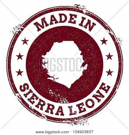 Sierra Leone Vector Seal. Vintage Country Map Stamp. Grunge Rubber Stamp With Made In Sierra Leone T