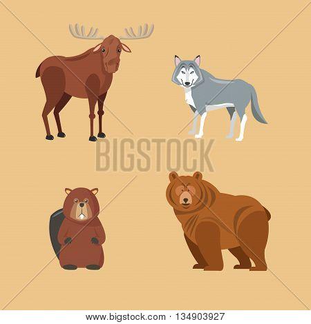 Deer, Wolf, Beaver and Beer illustration, Forest animals illustration