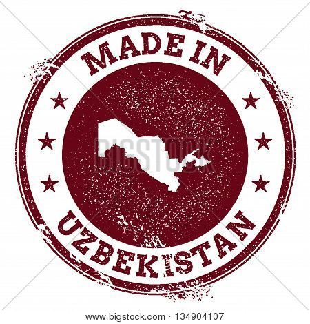 Uzbekistan Vector Seal. Vintage Country Map Stamp. Grunge Rubber Stamp With Made In Uzbekistan Text