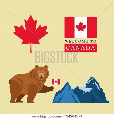 Canada representated by beer, flag, mountain and maple leaf illustration