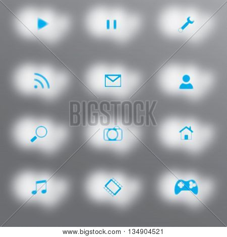 Twelve white clouds with blue feather icons in the middle