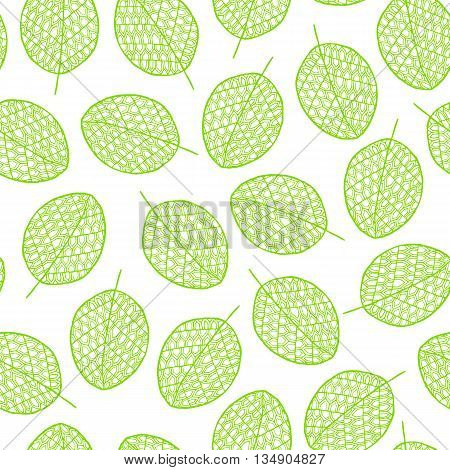 Vector graphic seamless pattern from silhouette leaves hand-drawn in a doodle zentangle style. Trace ink drawing of a tree leaf green seamless texture. Wrapping paper fabric