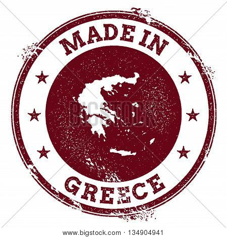 Greece Vector Seal. Vintage Country Map Stamp. Grunge Rubber Stamp With Made In Greece Text And Map,