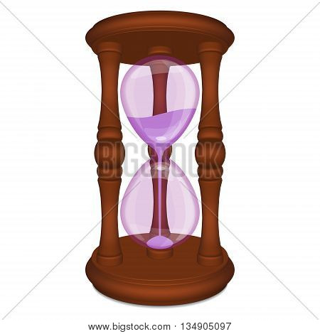 Brown hourglass with purple glass and sand