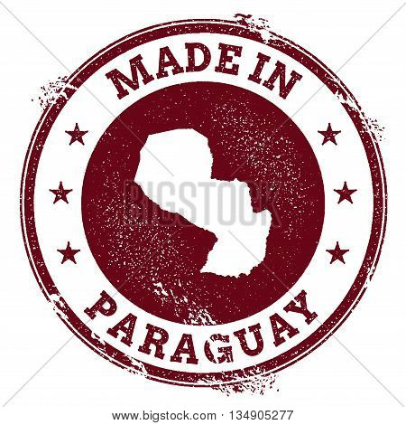 Paraguay Vector Seal. Vintage Country Map Stamp. Grunge Rubber Stamp With Made In Paraguay Text And