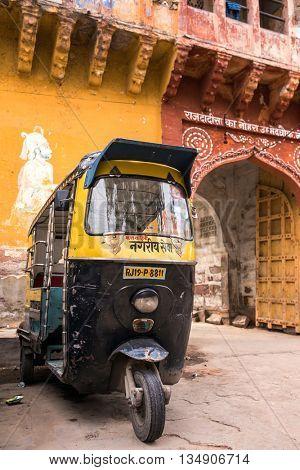 Jodhpur, India - March 7, 2016: Tuk-tuks or motor rikshaw waiting for pasangers in Jodhpur, India