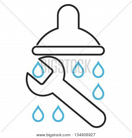 Shower Plumbing glyph icon. Style is outline bicolor flat icon symbol, blue and gray colors, white background.
