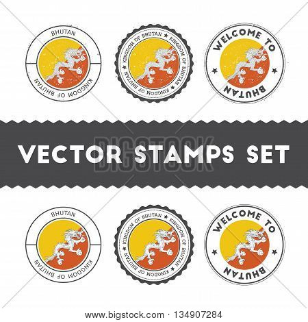Bhutanese Flag Rubber Stamps Set. National Flags Grunge Stamps. Country Round Badges Collection.