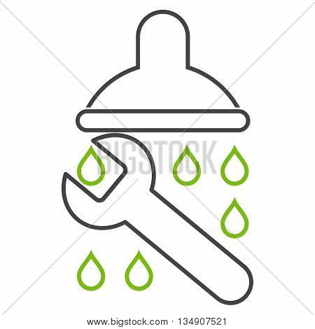 Shower Plumbing glyph icon. Style is contour bicolor flat icon symbol, eco green and gray colors, white background.