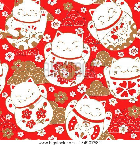 Cute pattern with cats, lucky charms, Maneki Neko, in oriental style. Vector illustration.