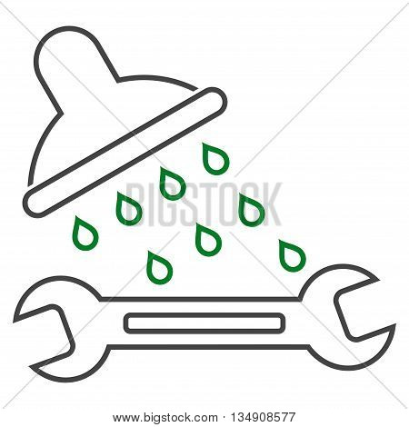 Shower Plumbing glyph icon. Style is outline bicolor flat icon symbol, green and gray colors, white background.