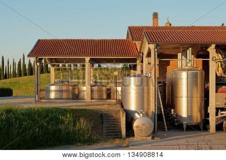 Winery equipment shot an sunset