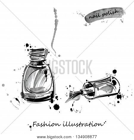 Watercolor vector illustration of nail polish. Fashion illustration. Beauty saloon. Women's cosmetics. Manicure and makeup.