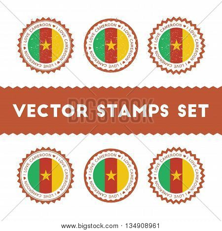 I Love Cameroon Vector Stamps Set. Retro Patriotic Country Flag Badges. National Flags Vintage Round