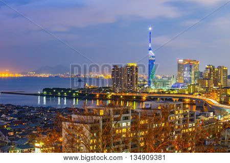 View Of Hakata Skyline In Fukuoka, Japan