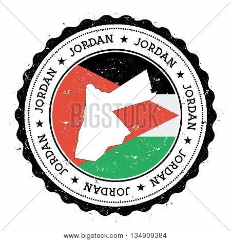 Jordan Map And Flag In Vintage Rubber Stamp Of State Colours. Grungy Travel Stamp With Map And Flag