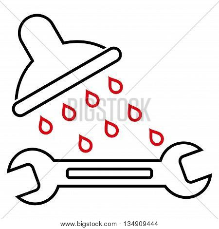Shower Plumbing glyph icon. Style is contour bicolor flat icon symbol, intensive red and black colors, white background.