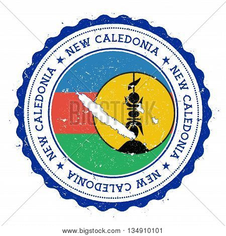New Caledonia Map And Flag In Vintage Rubber Stamp Of State Colours. Grungy Travel Stamp With Map An