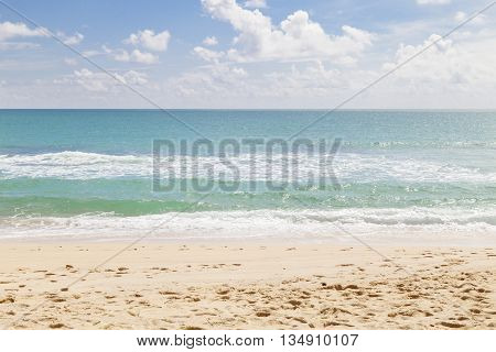beach and tropical seaselective focus on beach beautiful scenery background