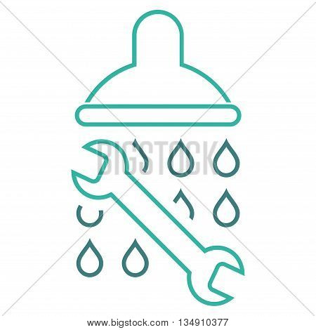 Shower Plumbing glyph icon. Style is outline bicolor flat icon symbol, cobalt and cyan colors, white background.