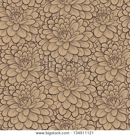 Beautiful seamless pattern with hand-drawn flowers in vintage colors. Perfect for greeting cards and invitations of the wedding birthday mother's Day. Many similarities to the author's profile