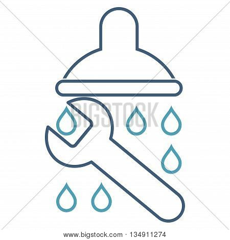 Shower Plumbing glyph icon. Style is linear bicolor flat icon symbol, cyan and blue colors, white background.