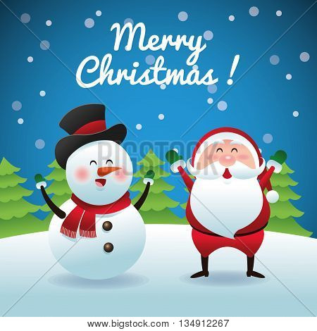 Merry Christmas represented by snowman and santa cartoon over blue and flat background