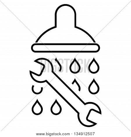 Shower Plumbing glyph icon. Style is linear flat icon symbol, black color, white background.