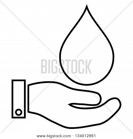 Water Service glyph icon. Style is linear flat icon symbol, black color, white background.