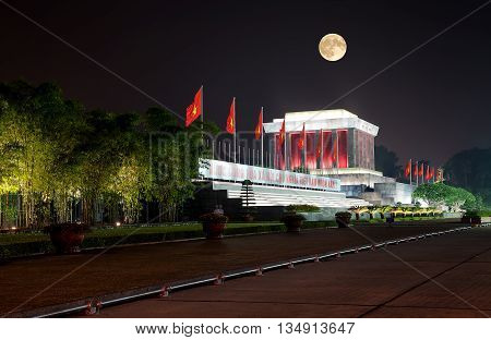HA NOI, VIET NAM, March 16, 2016: Ho Chi Minh Mausoleum, Vietnam leader, At night Moonlight