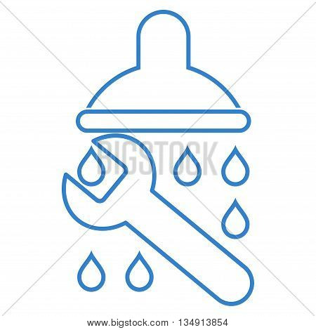 Shower Plumbing glyph icon. Style is outline flat icon symbol, cobalt color, white background.