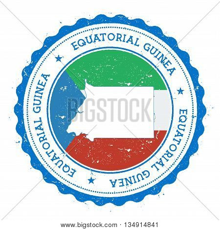 Equatorial Guinea Map And Flag In Vintage Rubber Stamp Of State Colours. Grungy Travel Stamp With Ma