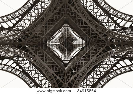 View from beneath Eiffel Tower with beautiful patterns.