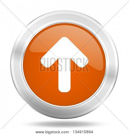 up arrow vector icon, orange circle metallic chrome internet button, web and mobile app illustration