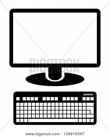 Computer display icon with keyboard. Computer screen. Monitor clip art. Keyboard clip art. Isolated. White background