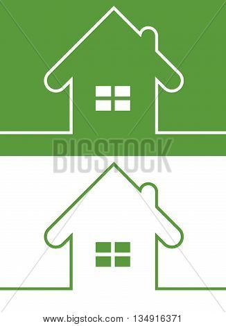 Green House Icon with Window Reversed colors. Minimal card with house design. Copy space