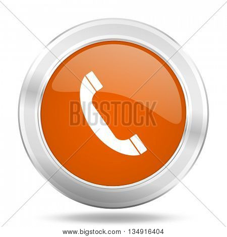 phone vector icon, orange circle metallic chrome internet button, web and mobile app illustration